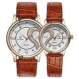 Yoyorule 1 Pair/2pc Tiannbu Ultrathin Leather Romantic Fashion Couple Wrist Watches Gold