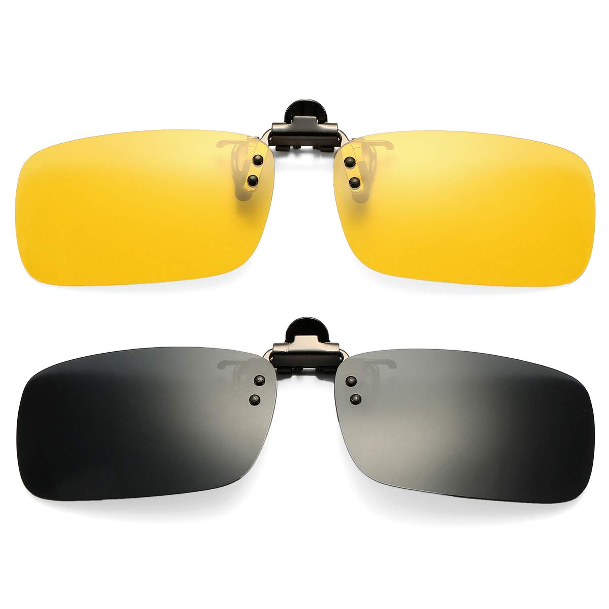 Pro Acme Polarized Clip on Sunglasses Unisex Frameless Rectangle Lens (2-Pack) (Black + Yellow/Night Vision Glasses) by Pro Acme