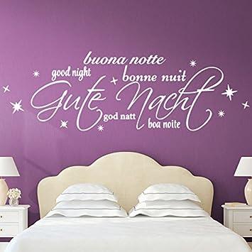 Grandora W3050 Wandtattoo Spruch Gute Nacht International + Sterne ...
