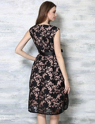 PU&PU Robe Aux femmes Gaine / Lace Vintage / Street Chic,Jacquard Col Arrondi Mi-long Coton , black-s , black-s