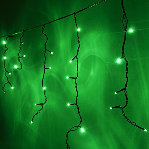 LEDwholesalers 16.4-ft 120-LED Icicle Christmas Holiday Lights with Dark Green Wire, Green, X064GN Green Icicle Lights