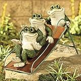 Frogs on a Slide Yard Decor Garden Statue Sculpture