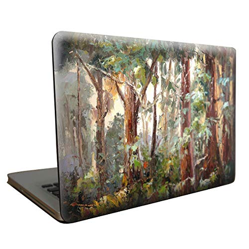 SaferCCTV Macbook Pro 13 Inch Case Forest Pattern Rubberized Hard Case with Free Screen Film,Touchpad Film,Dust Plug and Transparent Keyboard Film for Macbook Pro 13