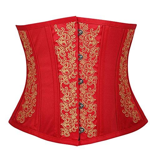 Floral Embroidered Corset (lttcbro Women's Gothic Vintage Steel Boned Embroidery Underbust Waist Cincher Corset Short Torso Red XL)