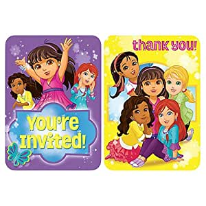 Amscan Dora and Friends Invitation and Thank You Card - 491468, Purple/Yellow