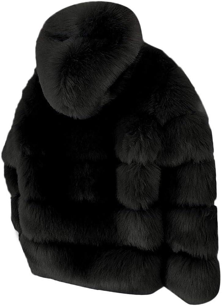 WYTong Clearance Women Girls Winter Hooded Shaggy Faux Fur Coat Warm Thicker Open Front Jacket Outerwear
