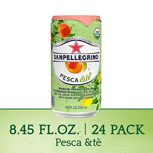 San Pellegrino Sparkling Organic Juice & Tea Beverage Blend, Pesca &te, 8.45 Fl Oz, Pack of 24
