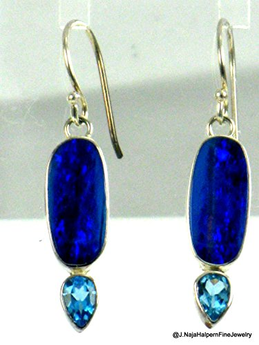 (OPAL EARRINGS and STERLING SILVER 925, Blue Fire Opal Earrings, Blue Topaz and Opal Earrings, 1.5 inch)