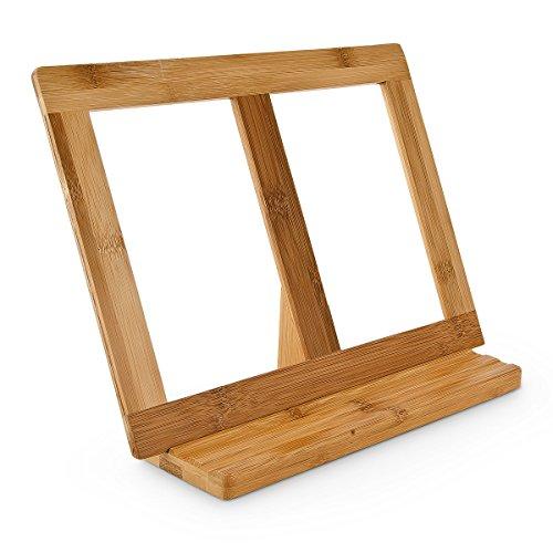 Relaxdays Buchstütze Bambus H x B x T: ca. 23,5 x 32 x 12 cm Buchständer für Koch- und Backbücher Buchhalter als Leseständer und Notenständer Kochbuchhalter für dicke Bücher Rezepthalter Holz, natur
