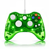 n64 colored console - TNP USB Wired Gamepad Controller for PC & XBox 360 (Green) - Glow Lightning Joystick Joypad Supports Shock Vibration Feedback for PC Windows, Steam OS and Microsoft XBox 360 Slim [Xbox 360] [PC]