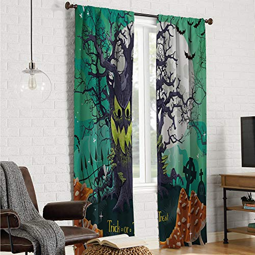 Mozenou Solid Pattern Short Curtain Halloween,Trick or Treat Dead Forest with Spooky Tree Graves Big Kids Cartoon Art Print,Multicolor W108 x L96 Inch ()