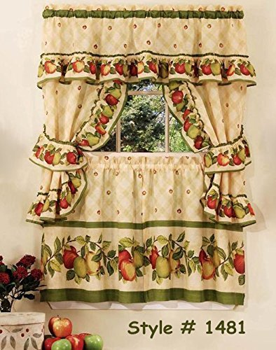 Apple Orchard Kitchen Curtain with Swag and Tier Set 36 In #1481