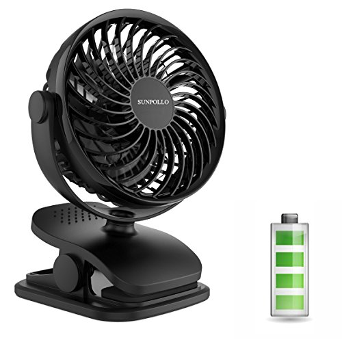 Battery Operated Fan, Mini Clip on and Desk Fan, Personal Portable Fan with 4 Speeds, USB or Rechargeable 2200mAh Battery Powered Cooling Fan for Baby Stroller, Car Seat , treadmill,Office, Camping
