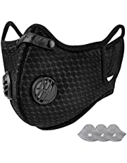 KIOJIOVV Reusable -Personal Protective Adjustable Dust Face hood with Filters for Running, Cycling, Outdoor Activities(Black, 1 facial hood + 3 Activated Carbon Filters Included)