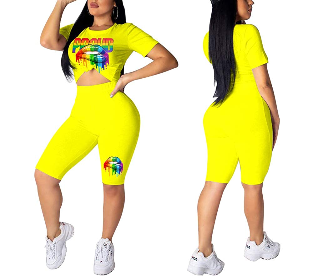 Halfword Womens 2 Piece Shorts Outfits Spandex Biker Lip Print Shorts Set Outfit Two Piece Tracksuits
