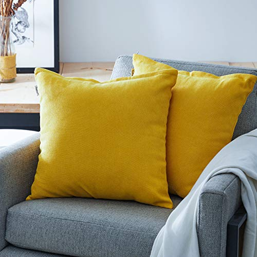 Top Finel Decorative Throw Pillow Cases Soft Chenille Solid Cushion Covers 20 X 20 for Couch Bedroom Car, Pack of 2, Mustard Yellow