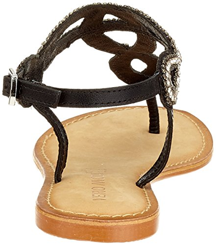 VERO MODA Damen Vmliv Leather Sandal Riemchensandalen Schwarz (Black)