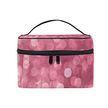 47c7713ad0a2 Makeup Cosmetic Bag Pink Glitter Effect Twinkle Shiny ... - Amazon.com