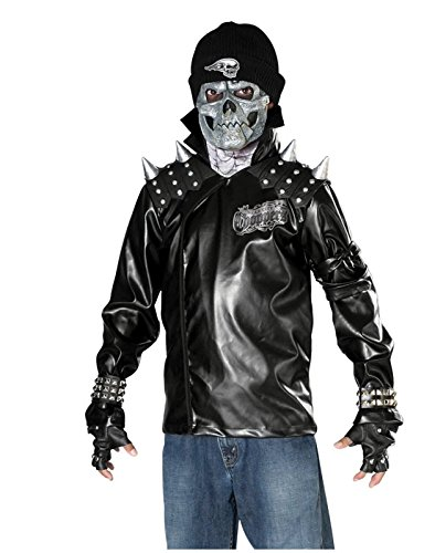 [Rubie's metal skull biker child/teen costume Black] (Biker Kid Costume)