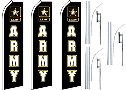 3 Swooper Flutter Feather Flags plus 3 Poles & Ground Spikes ARMY U.S.Army Logo Black White by Mission Flags (Image #1)