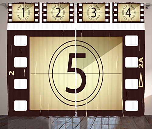 Ambesonne Movie Theater Curtains, Scratched Film Strips Vintage Movie Frame Pattern Grunge Illustration, Living Room Bedroom Window Drapes 2 Panel Set, 108 W X 84 L inches, Beige Brown White