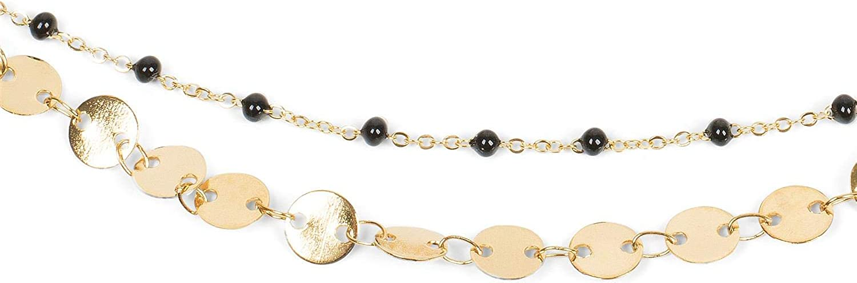 Fermoir /à Mousqueton Bijou 05080009 styleBREAKER Cha/îne de Cheville pour Femmes avec Plusieurs rang/ées des pendentifs Ronds et des Perles en Maille for/çat
