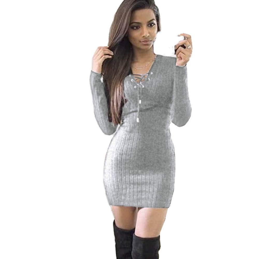 Dress For Women Liraly Fashion New Winter Long Sleeve Knitted BodyCon Sweater Dress Womens Dresses