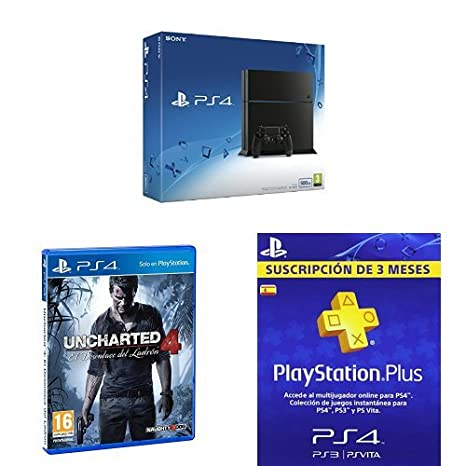 PlayStation 4 (PS4) - Consola 500GB + Uncharted 4 + PSN Plus ...