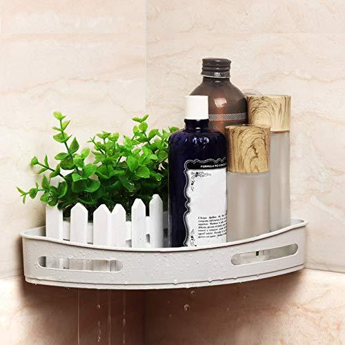Ywillink Bathroom Shelf (No Drilling) Durable ABS Shower Shelf Kitchen Storage Basket Adhesive Suction Corner Shelves Shower Caddy