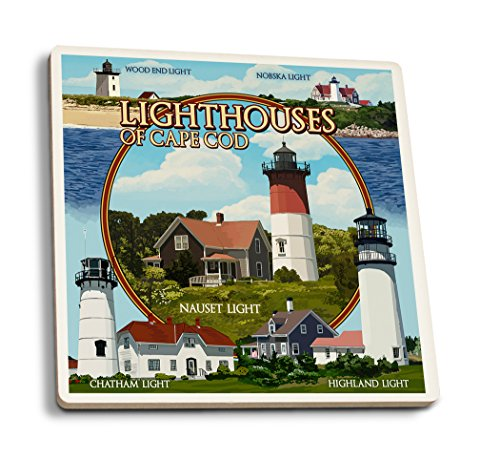 Cape Cod, Massachusetts - Lighthouses Montage (Set of 4 Ceramic Coasters - Cork-backed, Absorbent) Massachusetts Lighthouse