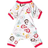 LovinPet Dog Clothes Adorable Monkey Dog Pajamas Soft Cotton Shirt Pet Clothes, (Red XL) (Please Read Description)