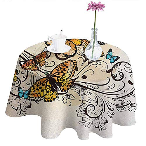 Maroon Monarch Tablecloths - DouglasHill Butterfly Easy Care Leakproof and Durable Tablecloth Monarch Butterflies Vintage Artsy Damask Inspired Artistic Design Outdoor Picnic D67 Inch Light Brown Sky Blue Black