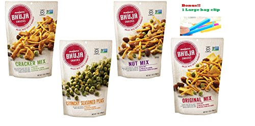 Bhuja Snacks 4 Flavors Variety Pack ( 1 Original Mix, 1 Nut Mix, 1 Cracker Mix, 1 Crunchy Seasoned Peas ) 7 oz Pack of 4 With 1 Snack Clip (Mix Nut Bhuja)
