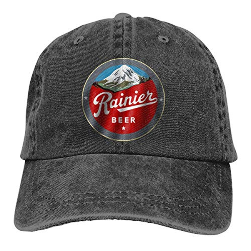 Tidsise Historic Rainier Beer Logo Unisex Vintage Washed Distressed Baseball-Cap Twill Adjustable Dad-Hat Black