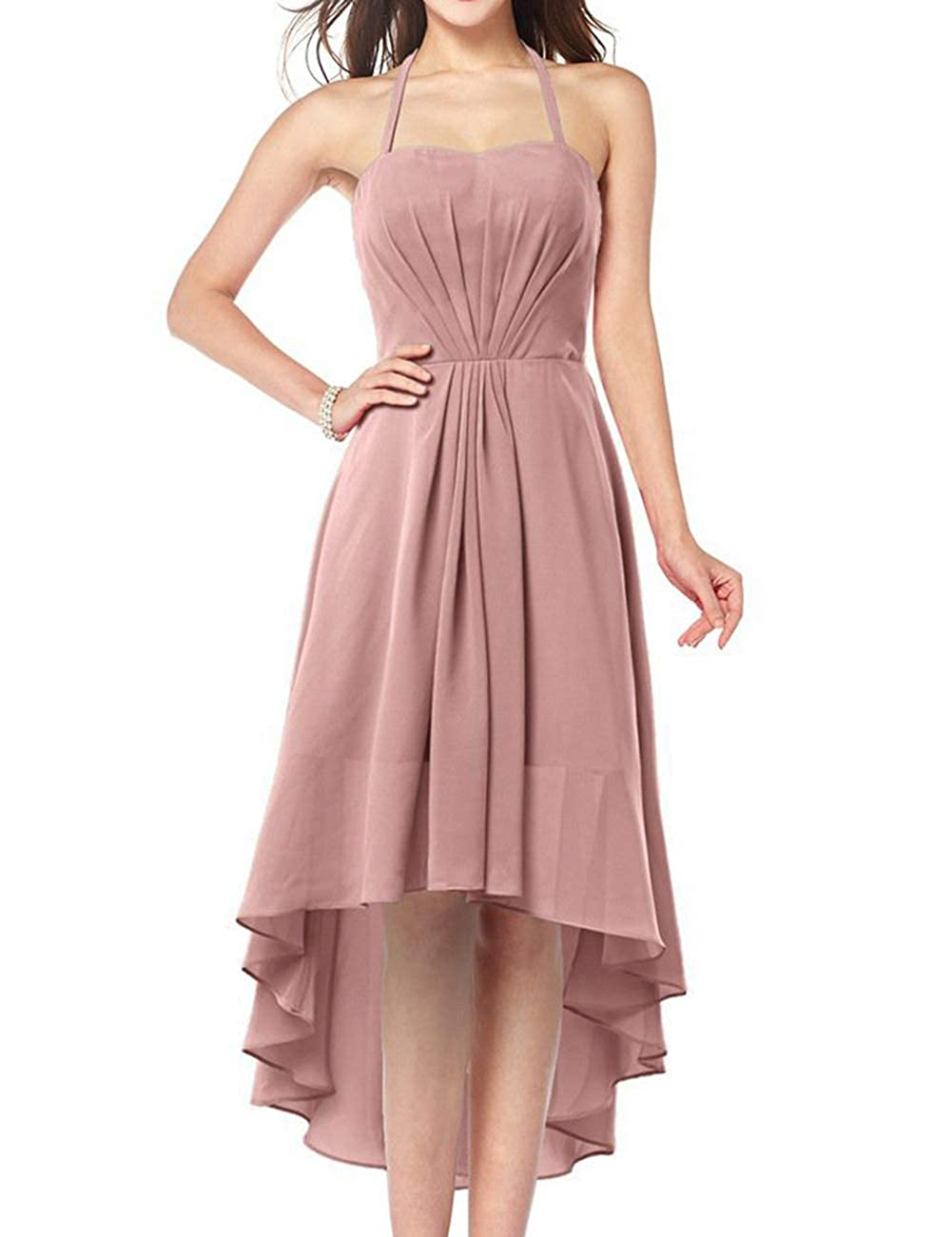 bluesh Uther Plus Size Bridesmaid Dresses Long Aline Halter Hi Lo Evening Prom Party Gown