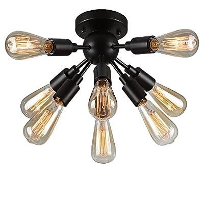Warehouse of Tiffany C1706-8 8 Light Juvan Ceiling Lamp 8 Antique Bronze Includes 8 Ediison Bulbs, Black