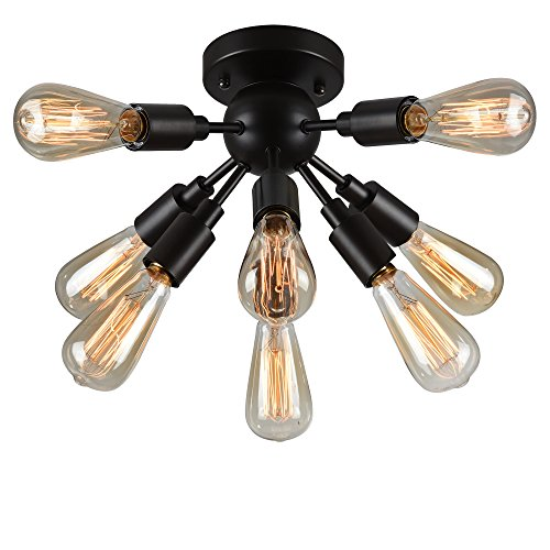 Warehouse of Tiffany C1706-8 8 Light Juvan Ceiling Lamp 8 Antique Bronze Includes 8 Ediison Bulbs, Black