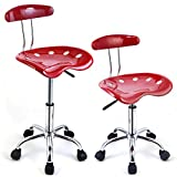 1pc Adjustable Bar Stools Abs Plastic Tractor Seat Swivel Chrome Kitchen Breakfast Red Universal Easy Movement Better Suitable Position Brand New