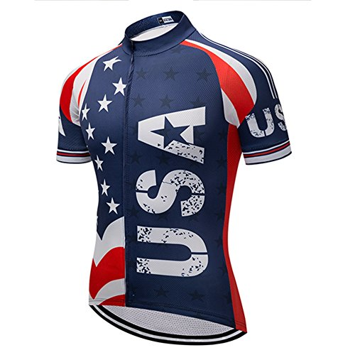 Team USA Club Men Cycling Jersey Short Sleeve Breathable Quick Dry,Bicycle Jersey,Biking Shirt Size L