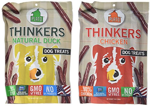 Plato Thinker Sticks Dog Treats 2 Flavor Variety Bundle: (1) Plato Thinkers Chicken Dog Treats and (1) Plato Thinkers Duck Dog Treats, 10 Ounces Each (2 Bags Total)