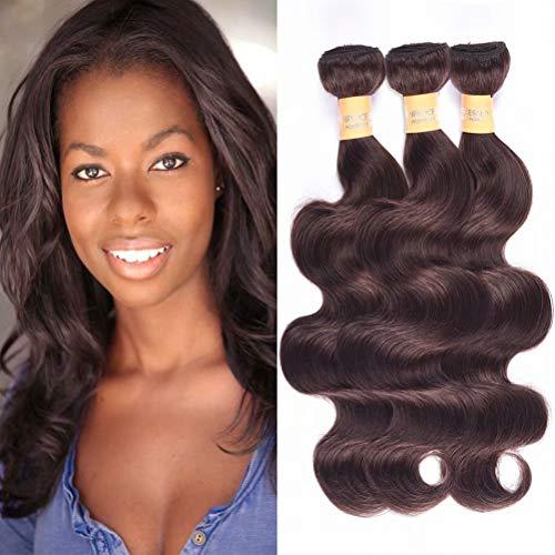 - Wome Hair Color #2 Dark Brown Body Wave Human Hair Weave 3 Bundles Peruvian Virgin Remy Hair Wefts Bundles(Mixed Length 14