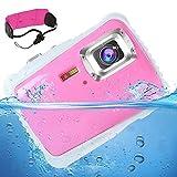 [Updated 2019 Model] AIMTOM 12MP Pink Kids Underwater Digital Waterproof Camera, Boys Girls