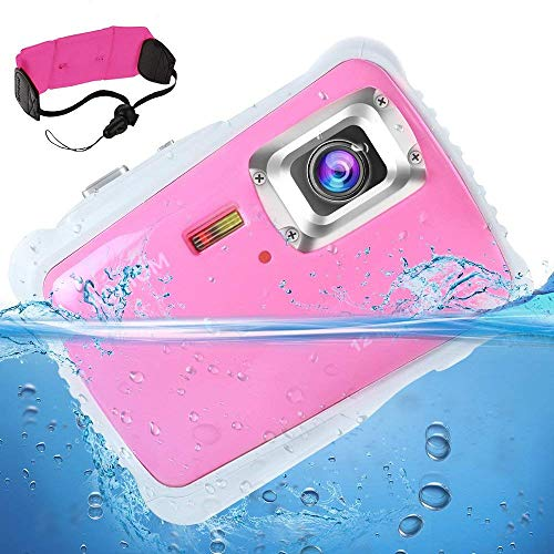 [Updated 2019 Model] AIMTOM 12MP Pink Kids Underwater Digital Waterproof Camera, Boys Girls Action Camcorder, 2 LCD Screen Children Birthday Learn Sports Cam Floating Wrist Strap Included