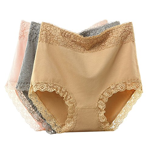 Paxuan Womens High-Waist Sexy Lace Panties Cotton Lingerie Briefs Underwear for Women Single or 3 Pack (X-Large(Size:8-11), Yellow + Pink + Grey) (Waist Cotton Women Panties)