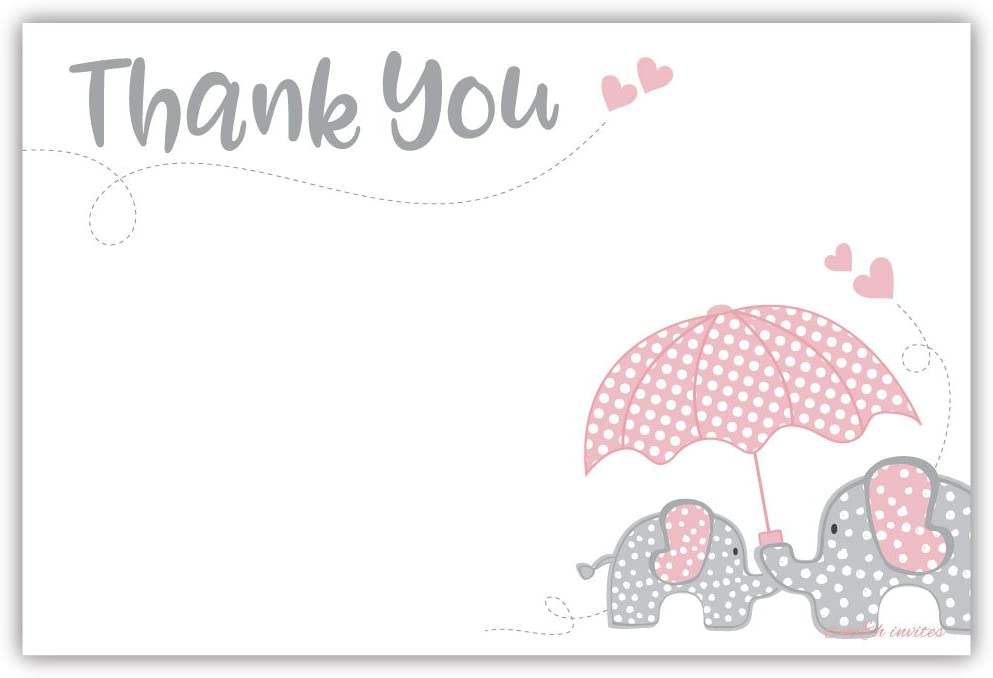 Pink Elephant Girl Baby Shower Thank You Note Cards (20 Count) - With Envelopes