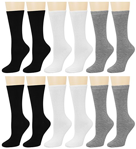 12 Pairs Women's Crew Socks (Black Grey White) B96003