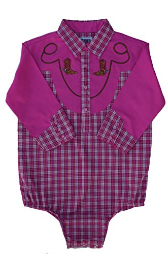 - 4Rodeo Baby Toddler Western Pink Plaid Cowboy Bodysuit Shirt (0-6 Months)