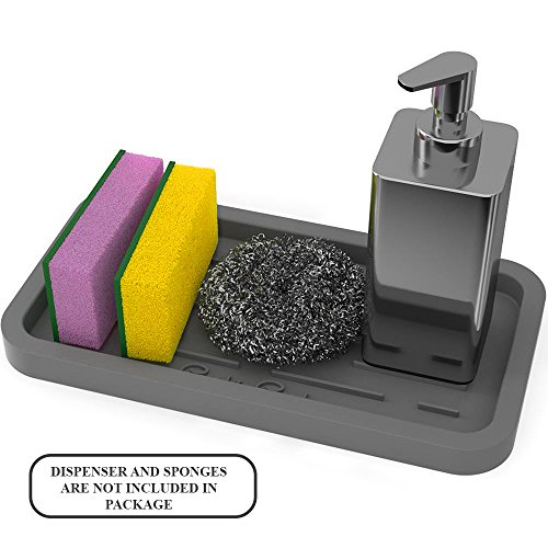 Sponge Holder - Kitchen Sink Organizer - Sink Caddy - Silicone Sink Tray Sponge Caddy Sponge Tray Soap Tray Soap Holder Sponges Rack (Grey)