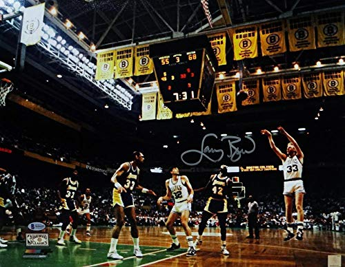 Autographed Larry Bird Photo - 16x20 Jumpshot Against Lakers PF Beckett Auth - Beckett Authentication