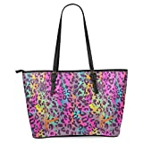 InterestPrint Colorful Animal Print Women's Leather Tote Shoulder Bags Handbags